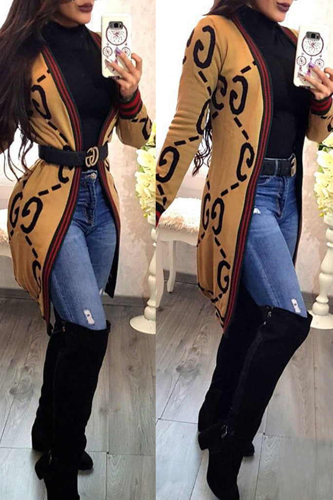 Striped Long Sleeve Casual Cardigan Without Belt