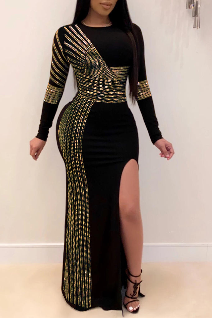 Hot Drilling Side Slit Round Neck Party Maxi Dress