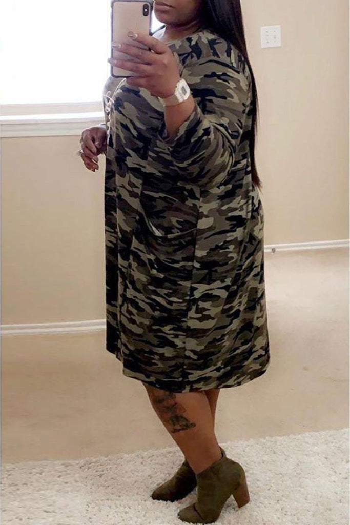 Plus Size Camouflage Printed Letter Print Midi Dress – WHATWEARS