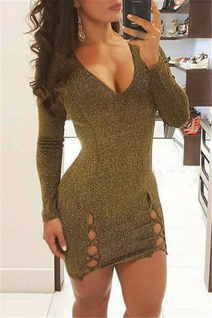 Metallic Wiggle Mini Dress