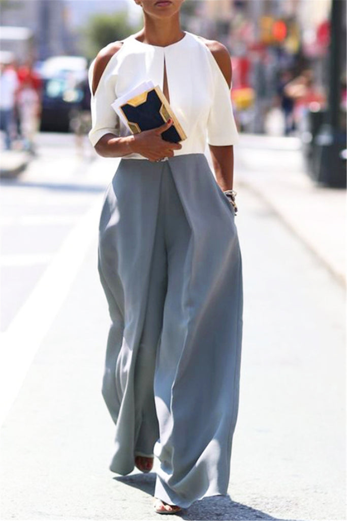 Dove Gray Wide Leg Pants - WHATWEARS