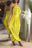 Open Back Solid Color Sleeveless Lantern Jumpsuit