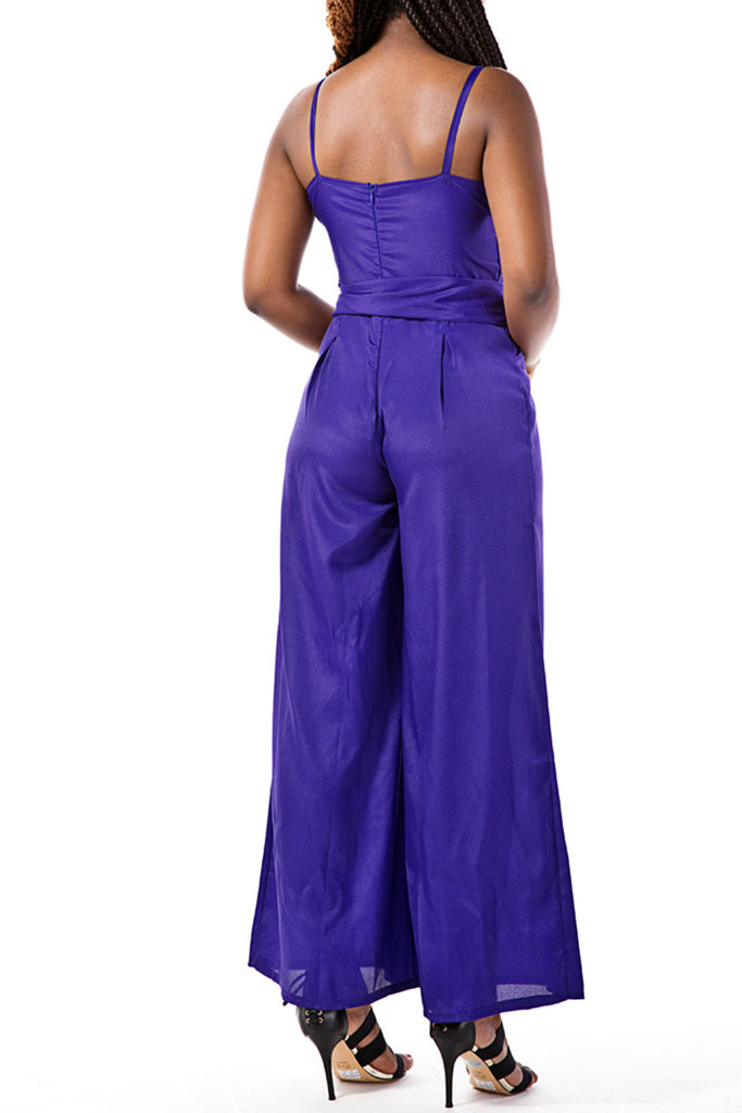 Solid Color Sleeveless Wide Leg Belted Jumpsuit