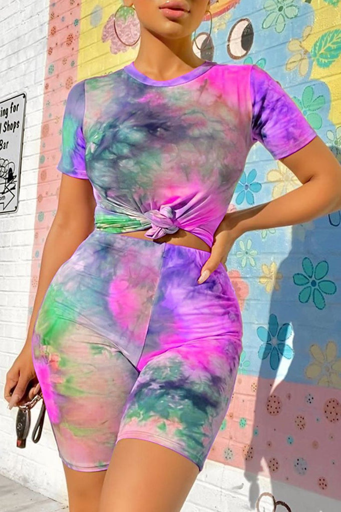 Tie Dye Knotted Short Sleeve Top & Shorts