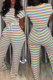 Knotted Striped Pocket Short Sleeve Two Piece Sets