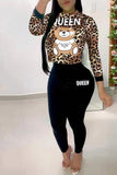 Leopard Cartoon Print Two Piece Sets
