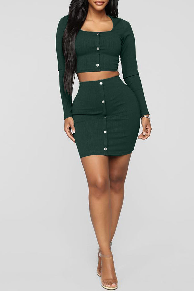 Solid Color Sexy Long Sleeve Two Piece Mini Dress