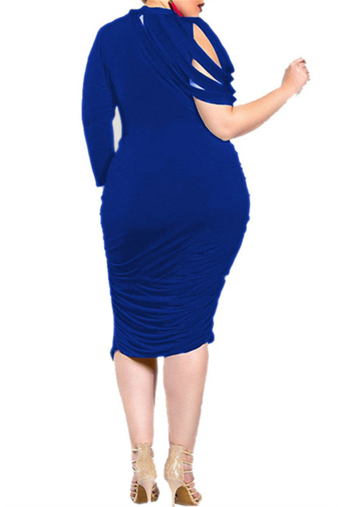 Plus Size Solid Color Irregular Ruffle Dress