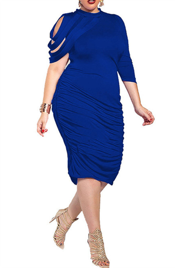 b686f31d07 Plus Size Solid Color Irregular Ruffle Dress – WHATWEARS