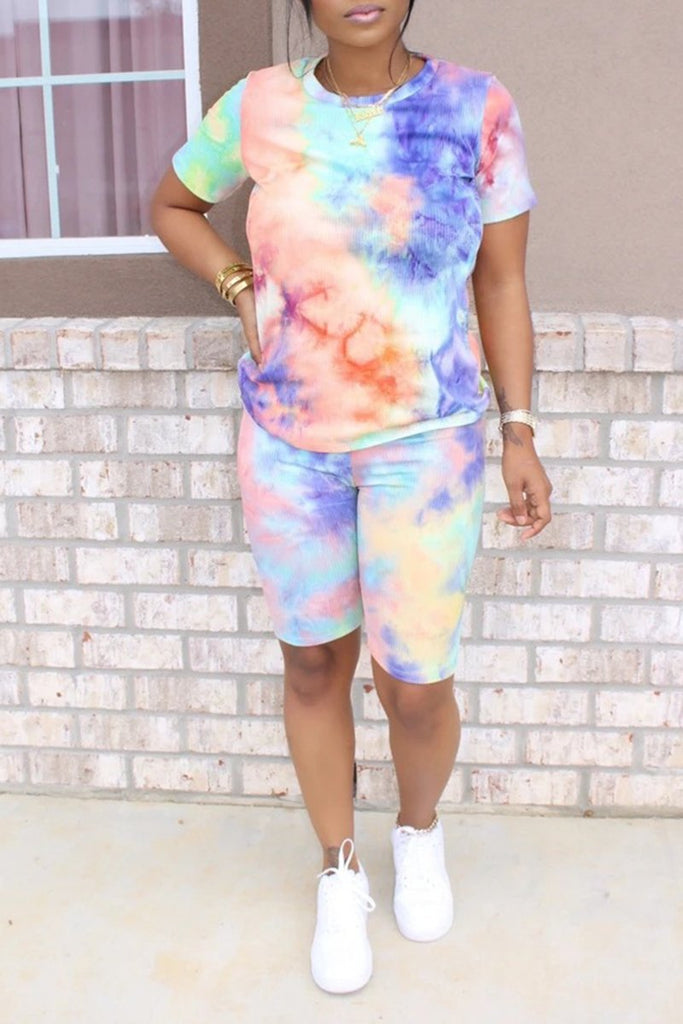 Short Sleeve Gradient Color Casual Top & Shorts