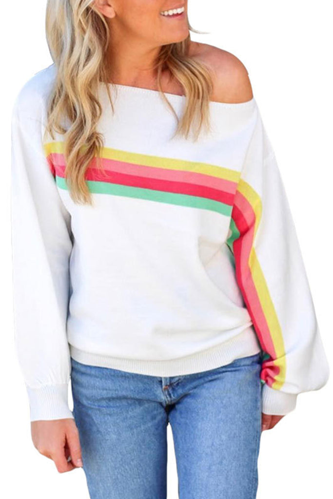 Rainbow Stripe Off One Shoulder Casual Sweatshirt