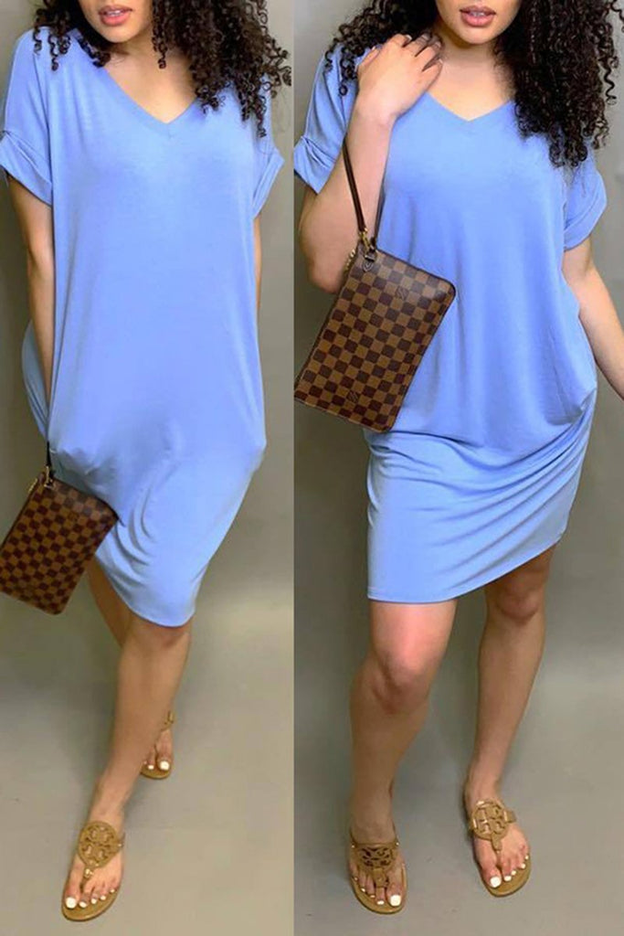 Pocket V-Neck Short Sleeve Casual Dress