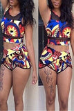 Net Yarn Patchwork Printed High Waist Two Piece Swimwear