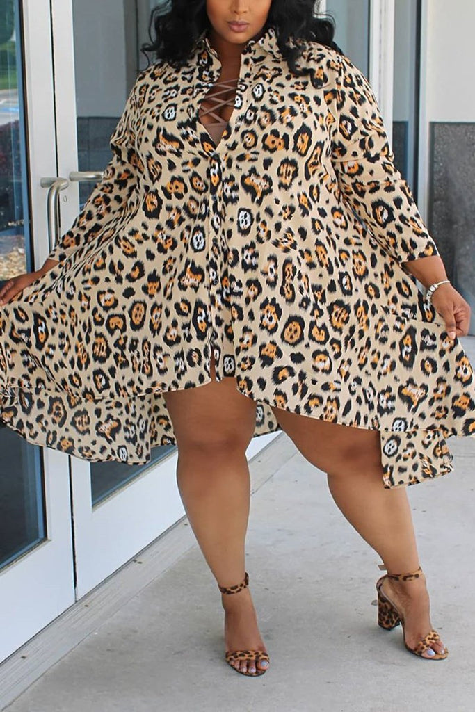 Plus Size Leopard Print Turndown Collar Dress