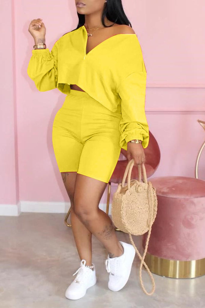 Plus Size Zipper Collar Solid Two Piece Sets