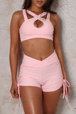 Sleeveless Solid Color Bandage Two Piece Sets