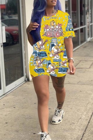 Pocket Cartoon Print Round Neck Top & Shorts, whatwears  - buy with discount