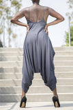 Loose Gray & Print Jumpsuit