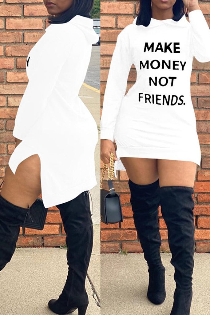 Letter Print Side Slit Hooded Plus Size Dress