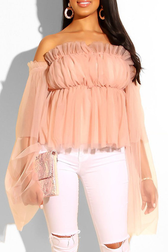 Net Yarn Off The Shoulder Ruffled Blouse