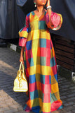 Casual Plaid Print Lantern Sleeve V-neck Maxi Dress - WHATWEARS