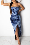 Asymmetric Hem Tie Dye Strapless Open Back Maxi Dress