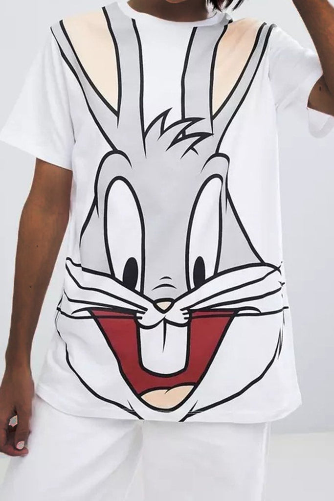Cartoon Print Short Sleeve Casual T-Shirt