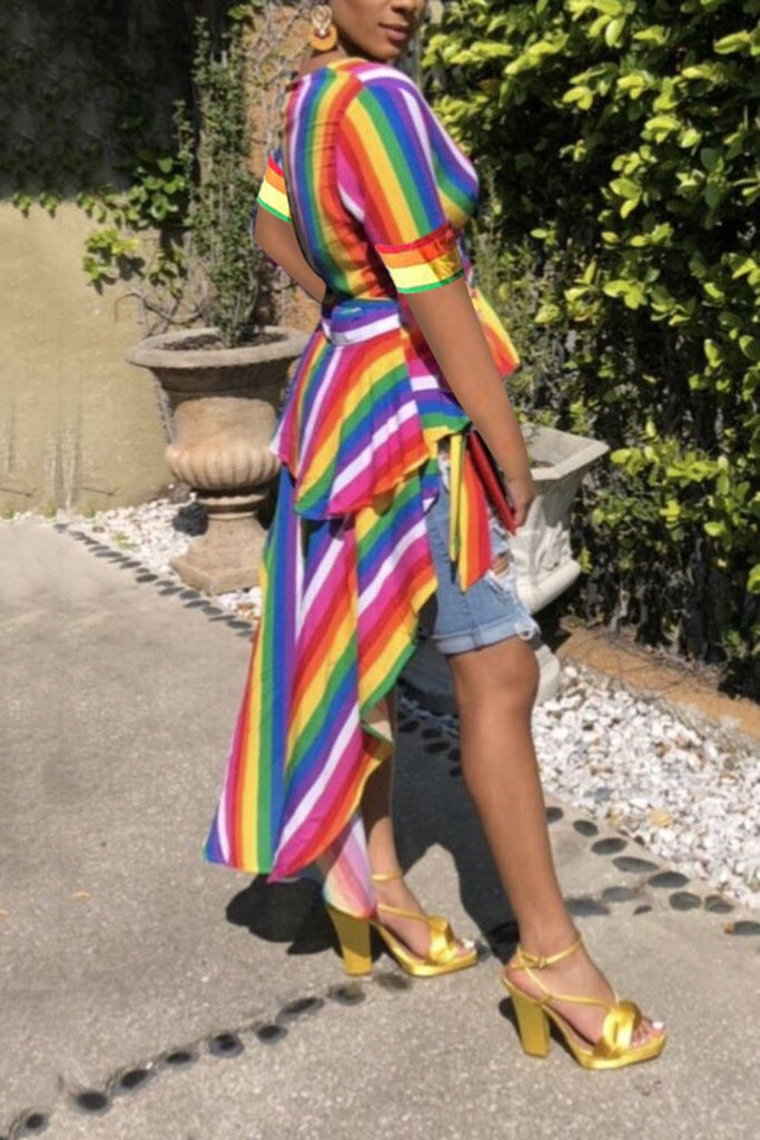 Irregular Hem Rainbow Striped Bandage Top