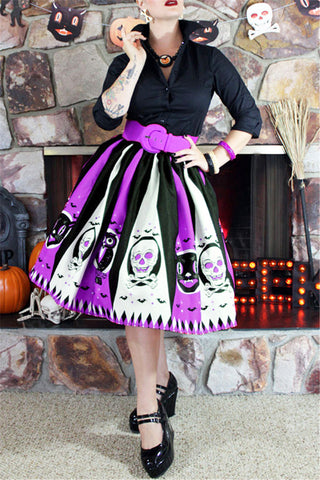 Striped Spooky Print 50's Skirt