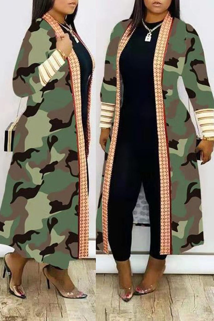 Camouflage Print Splicing Long Sleeve Coat