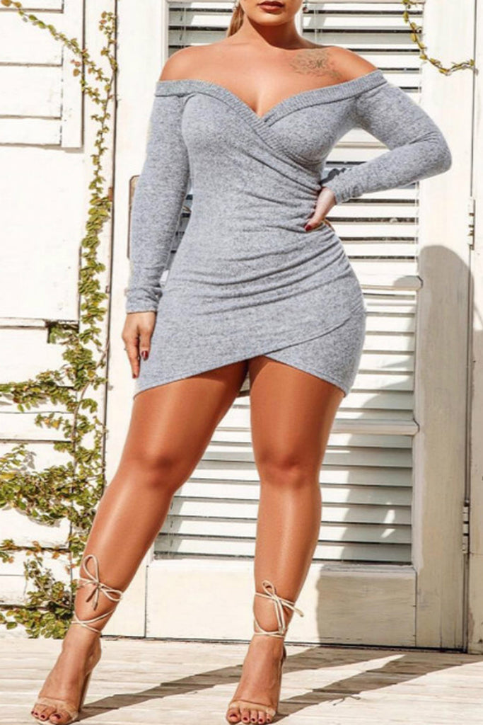 Sexy Solid Off The Shoulder Long Sleeve Mini Dress