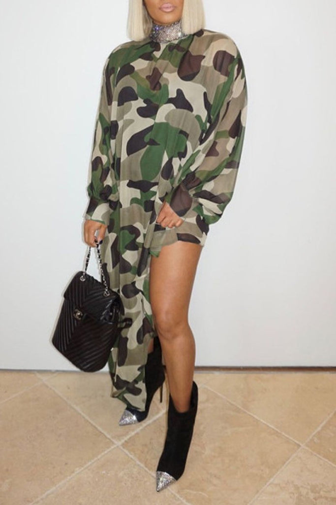 Asymmetric Hem Camouflage Print Dress