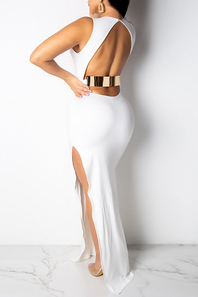 Solid Color High Slit Open Back Sleeveless Maxi Dress