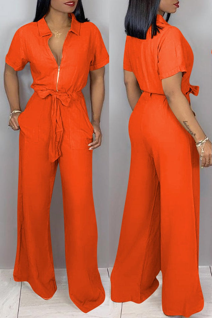 Solid Turndown Cllar Belted Short Sleeve Jumpsuit