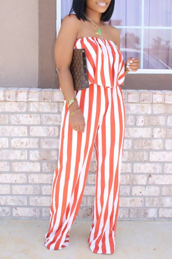 Striped Strapless Ruffled Casual Jumpsuit