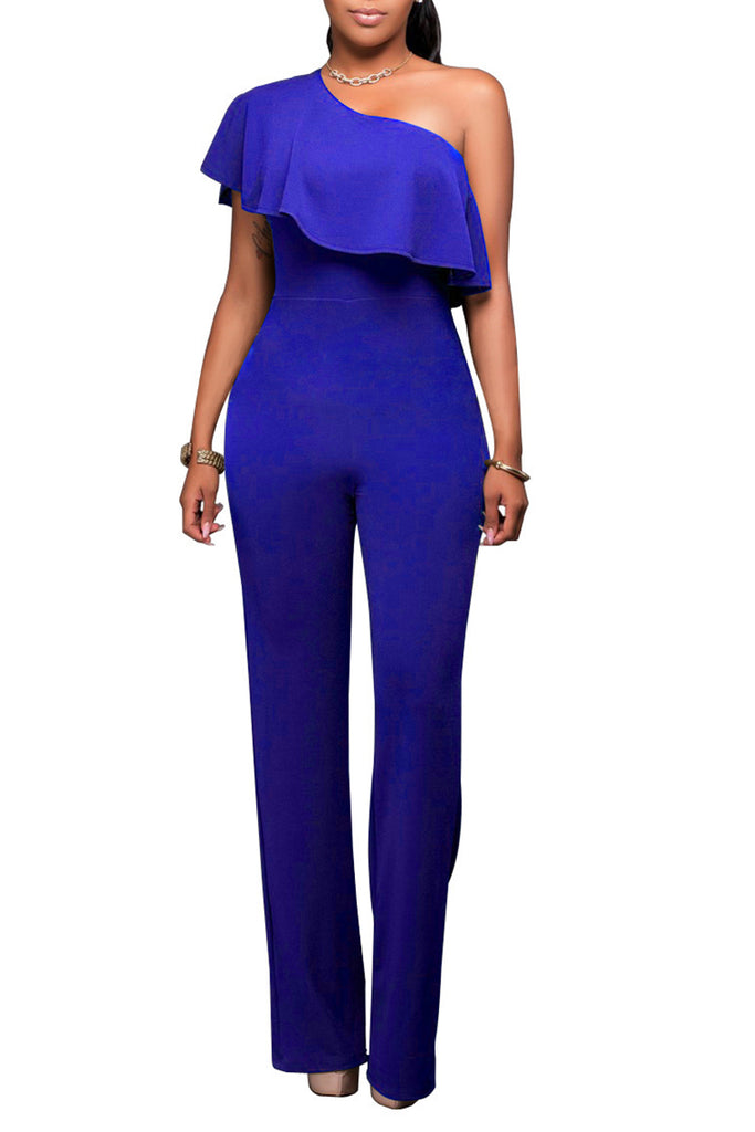 Solid Color Off One Shoulder Wide Leg Jumpsuit