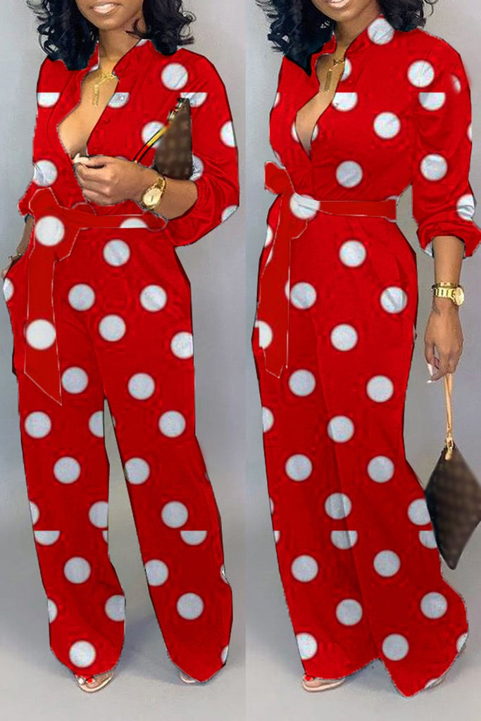 Polka Dot Plus Size Button Jumpsuit With Belt