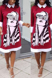 Cartoon Printed Shirt collar Casual Dress - WHATWEARS