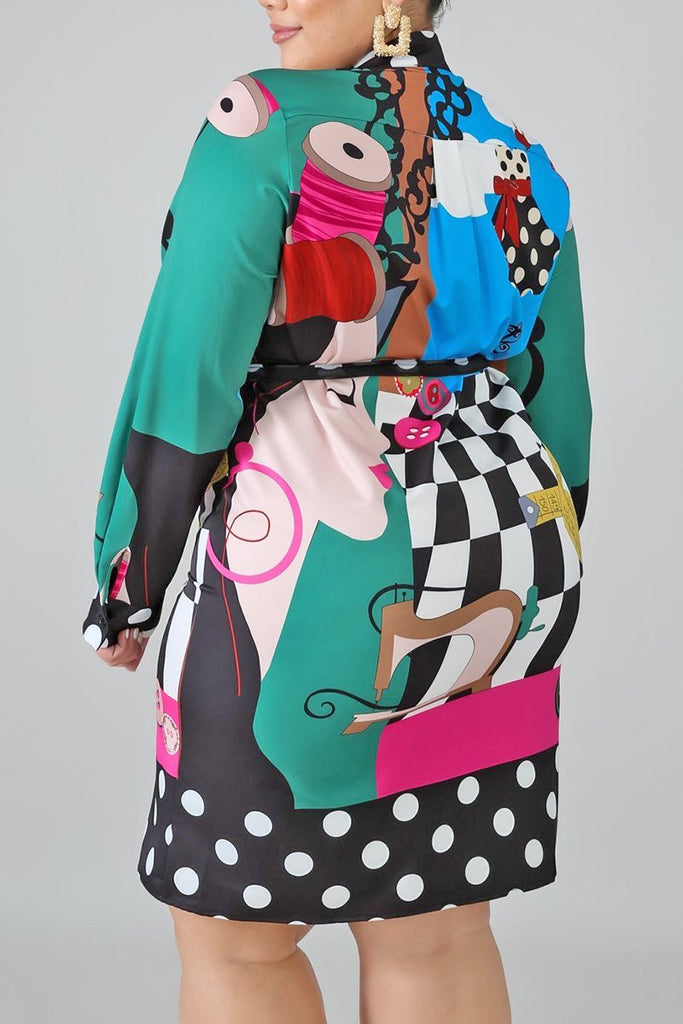 Color Block Plus Size Bowknot Dress