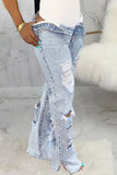 Hole Distressed Denim Slit Jeans