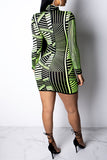 Pros And Cons Two Wear Stripe Print Long Sleeve Mini Dress