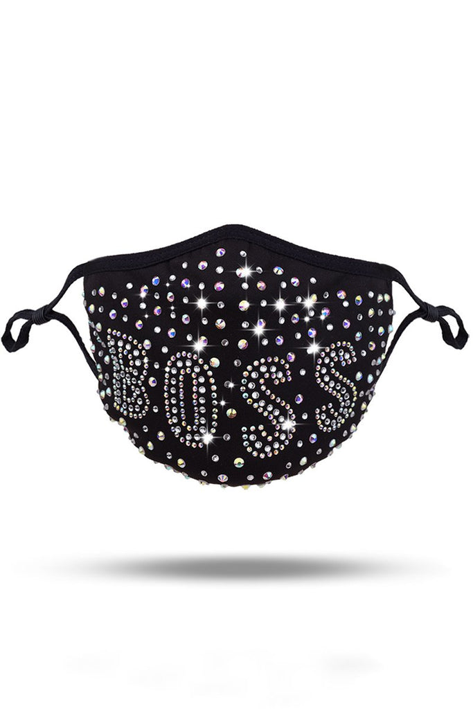 Rhinestone Decorative Letter Black Face Mask