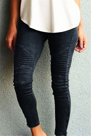 Solid  Leather Matte Leggings