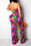 Strapless Digital Print Belted Casual Jumpsuit