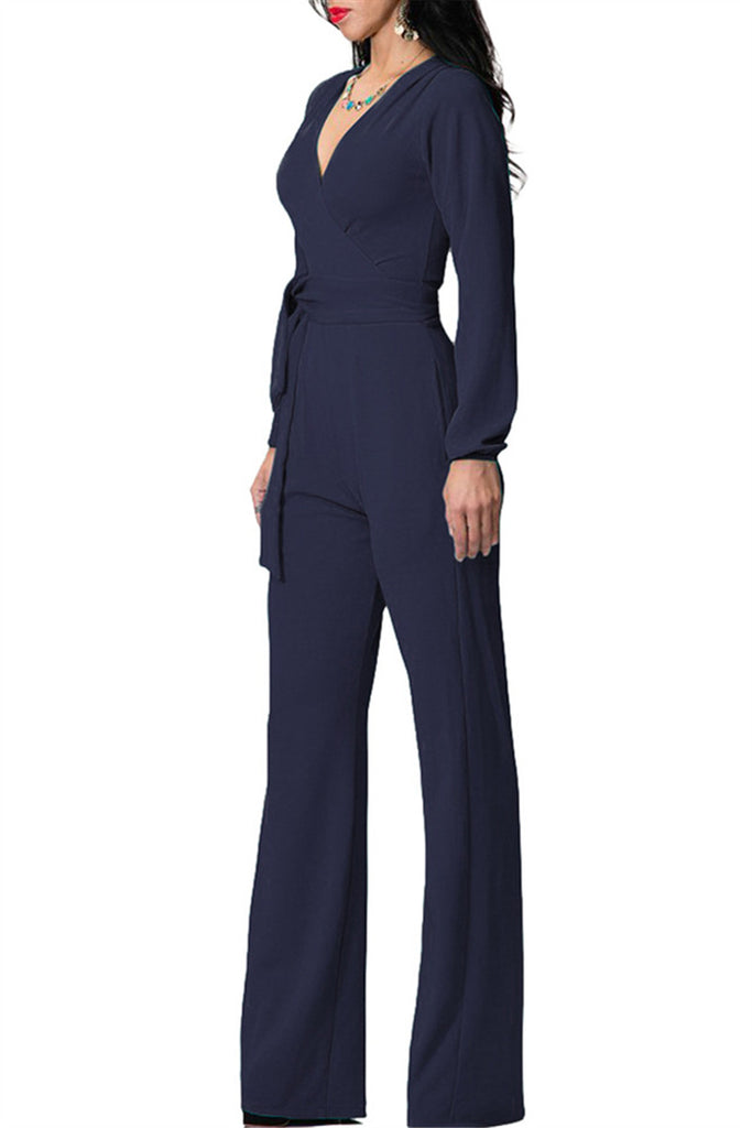 V Neck Long Sleeve Wide Legged Jumpsuit