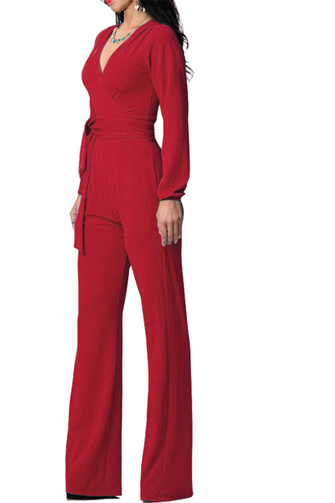 Cross Over Puff Sleeve Jumpsuit - WHATWEARS