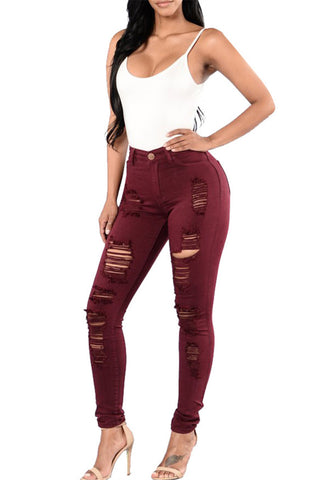 Midi Length Distressed Cropped Jeans