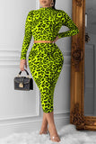 Leopard Print Sexy Two Piece Midi Dress