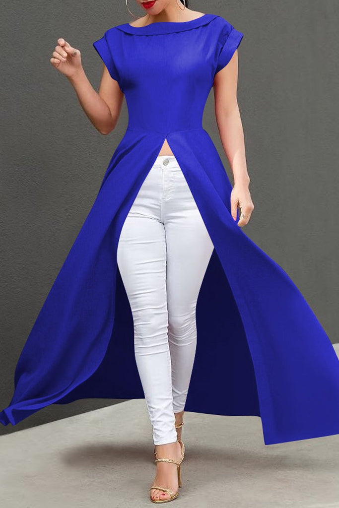 Solid Color Short Sleeve High Slit Top