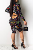 Hollow Out Print Zipper Romper